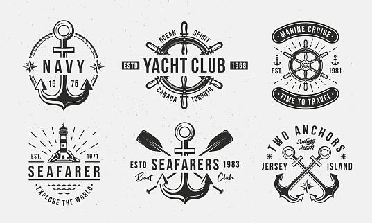 Nautical vintage logo set. Nautical emblems for t-shirt, banner, poster design. Anchor, Sea Wheel, Lighthouse icons. Trendy Hipster design. Marine labels templates. Vector illustration