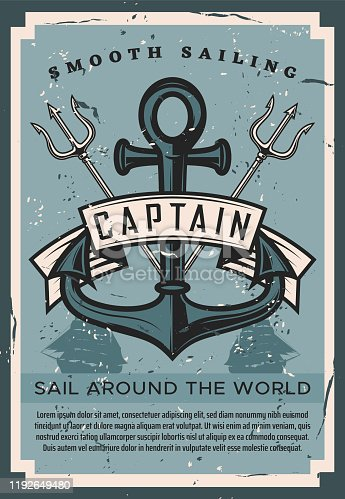 Sail around the world vintage retro poster with ship anchor and marine trident. Vector nautical ocean journey and sailing adventure, frigate boats and anchor, marine seafaring and ocean cruise