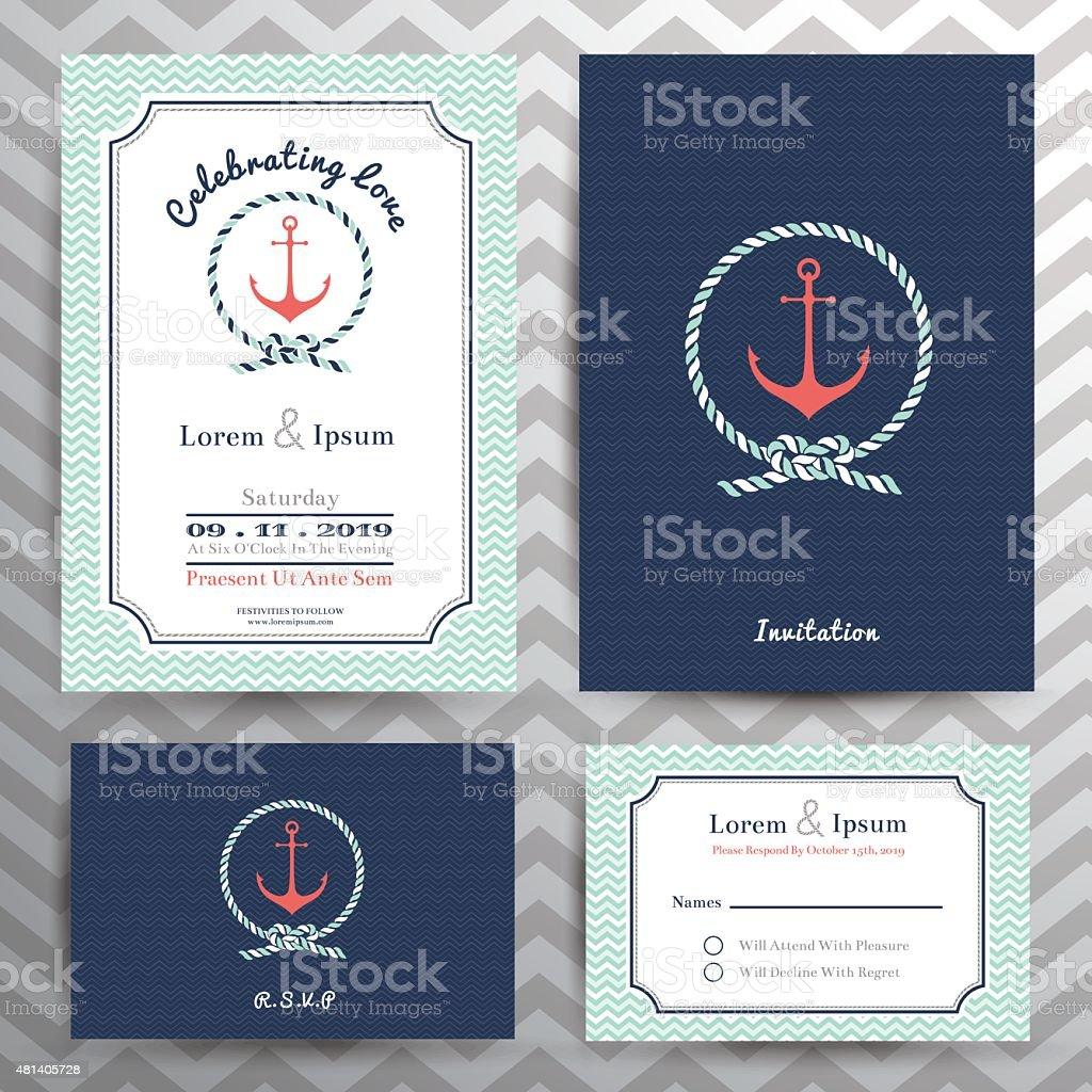 Nautical wedding invitation and RSVP card template set