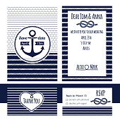 Nautical wedding invitation and RSVP card template. Anchor and rope elements. Vector illustration.