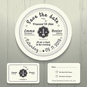 Nautical wedding invitation and RSVP round card template set
