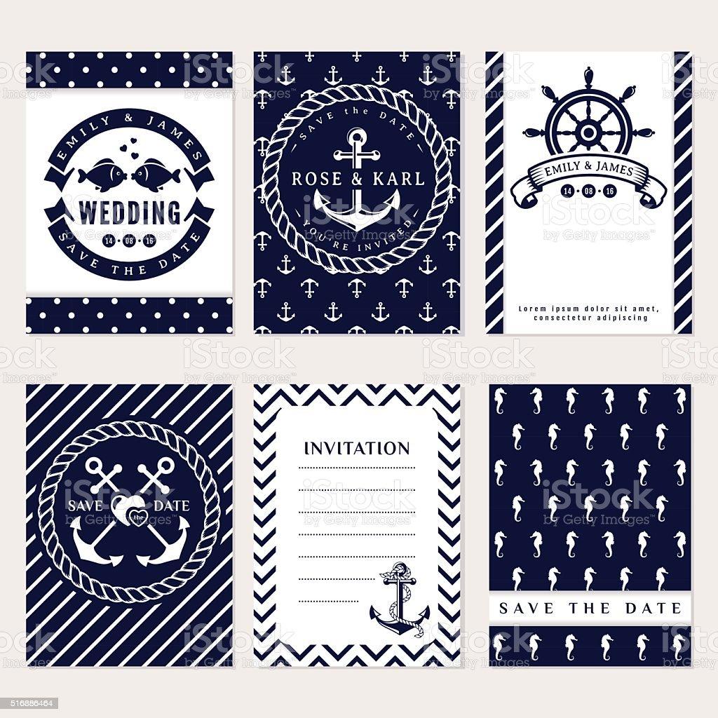 Nautical wedding invitations vector art illustration