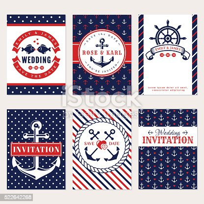 Nautical wedding invitation cards. Sea theme wedding party. Collection of elegant banners in white, red and blue colors. Vector set.