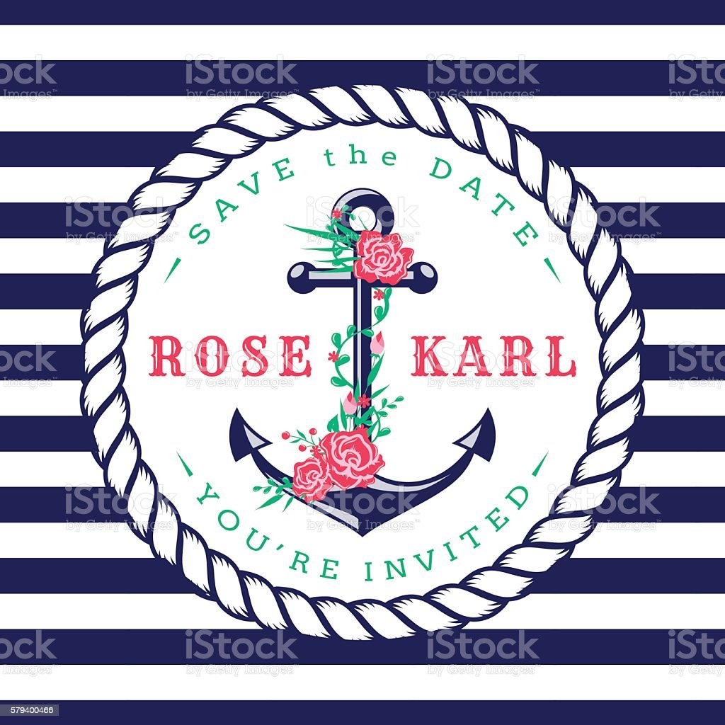 Nautical Wedding Invitations Stock Vector Art & More Images of ...