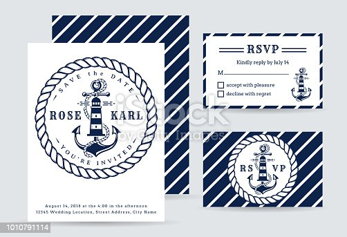 Nautical wedding invitation cards with anchor and lighthouse. Elegant templates in white and blue colors. Vector collection for sea wedding party.