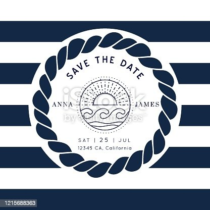 Nautical Wedding Invitation vector template.Boat sailor theme.Classic marine stripes vintage style.Elegant sea invite card overlay in white and navy blue colors.