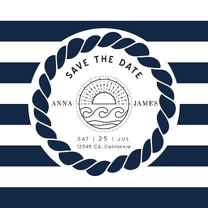 Nautical wedding vector design
