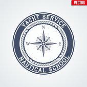 Premium Nautical Yacht logo. Vector Illustration isolated on white background.