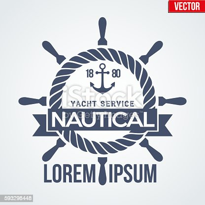 Premium Nautical Yacht logo. Vector Illustration isolated on white background.