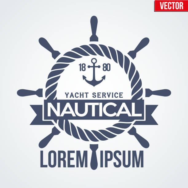 illustrations, cliparts, dessins animés et icônes de yacht logotype nautique - voilier à moteur