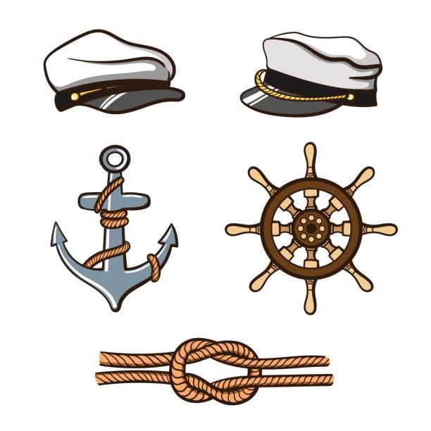 nautical_icons_set - matrosenmütze stock-grafiken, -clipart, -cartoons und -symbole