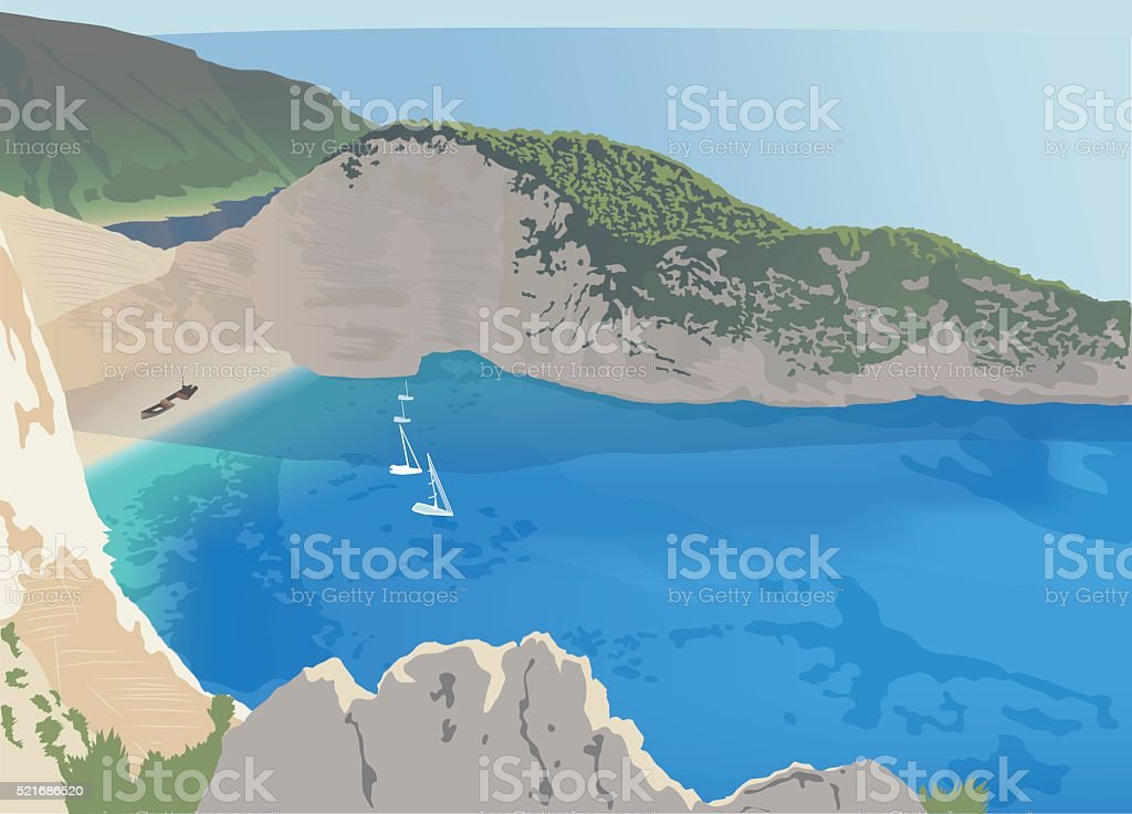 Navagio beach at the Zakynthos island vector art illustration