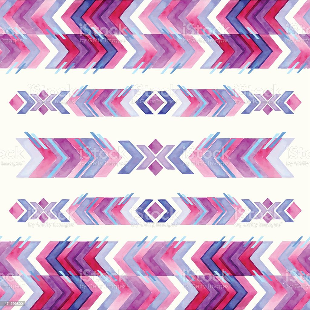 Navajo aztec textile inspiration watercolor pattern. Native amer vector art illustration