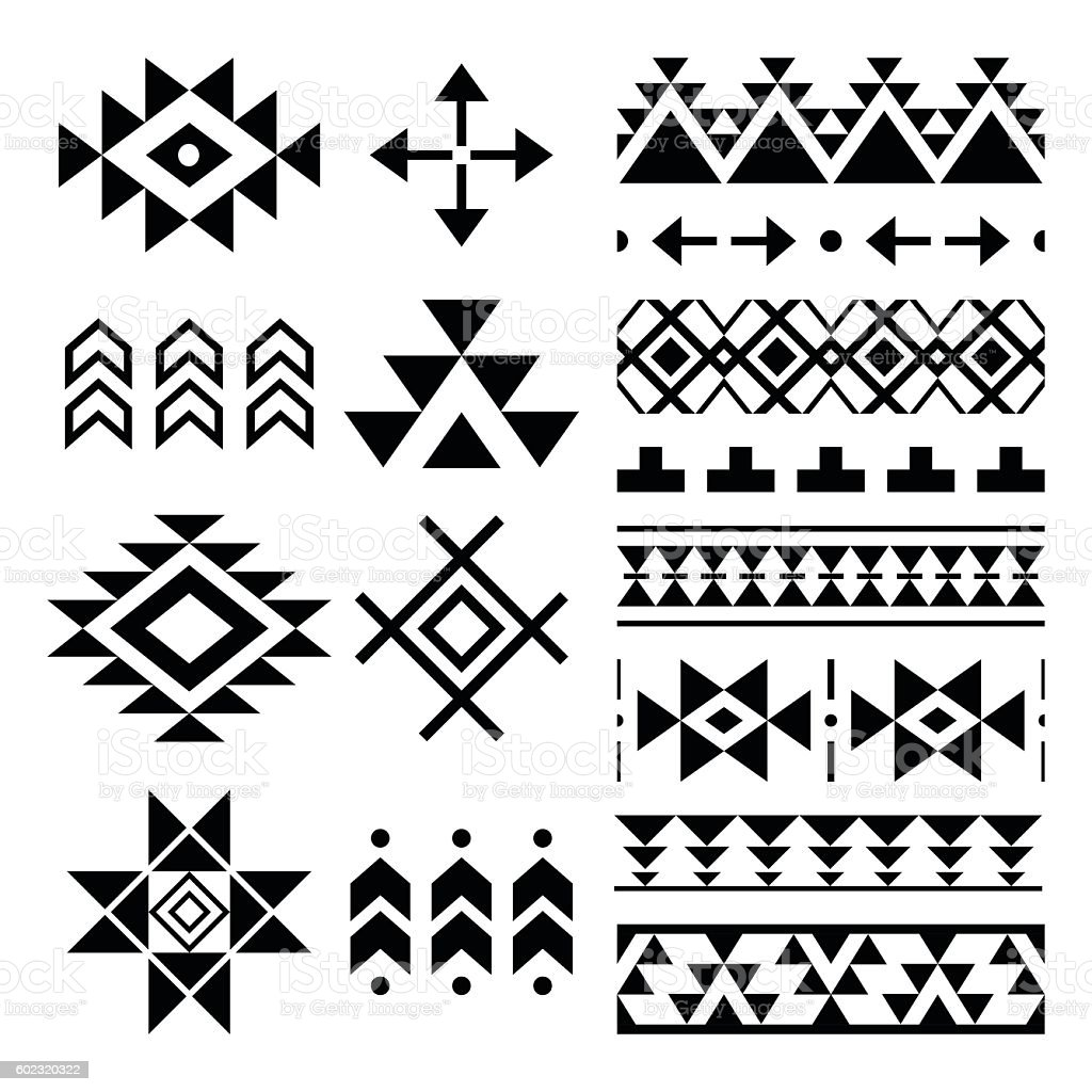 Navajo print, Aztec pattern, Tribal design elements vector art illustration