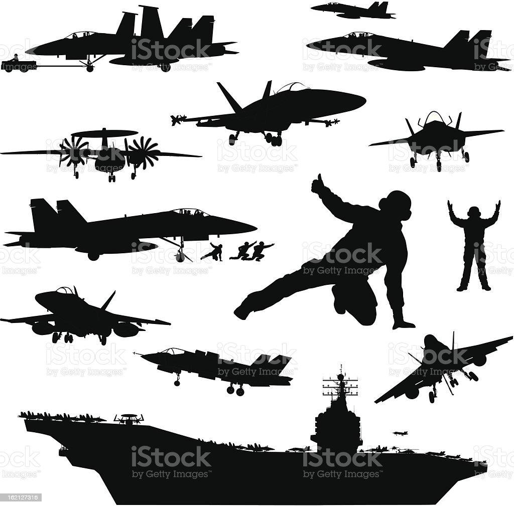 Naval aviation silhouettes vector art illustration