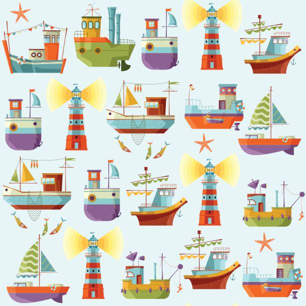 Naval collection. Seamless background pattern. Naval collection. Seamless background pattern. Vector illustration naval base stock illustrations