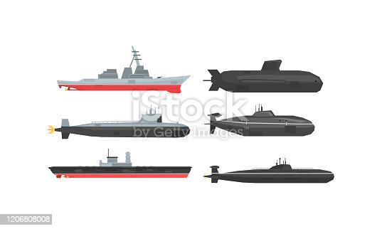 istock Naval Combat Ships and Submarines Collection, Military Boats, Frigates, Battleships Vector Illustration 1206808008