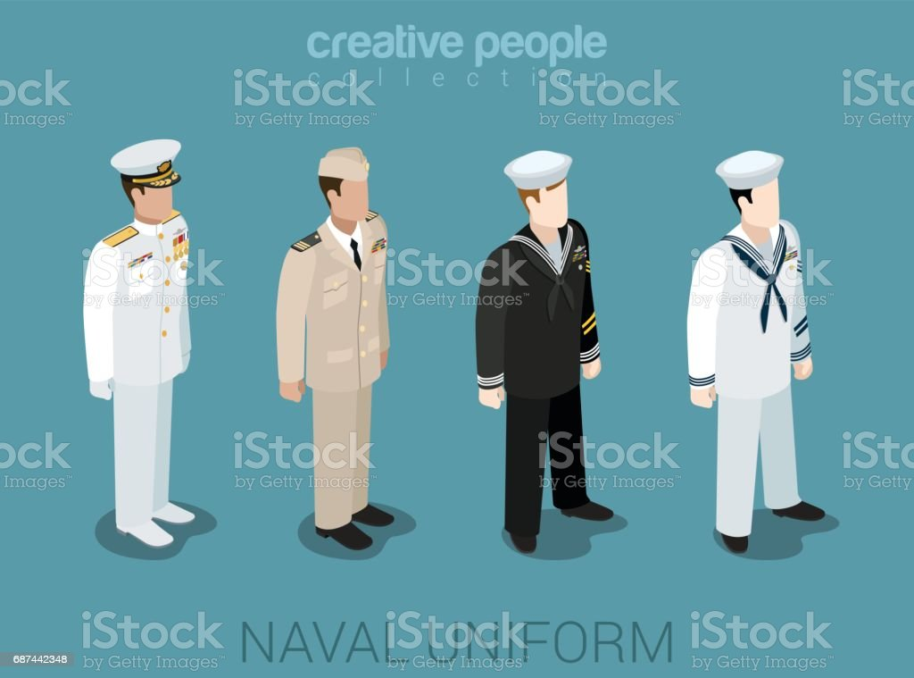 Naval military people in uniform flat isometric 3d game avatar user profile icon vector illustration set. Sailor navy officer NCIS fleet. Creative people collection. Build your own world. vector art illustration