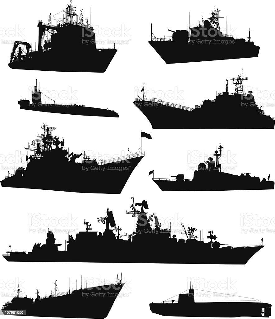 Naval set vector art illustration