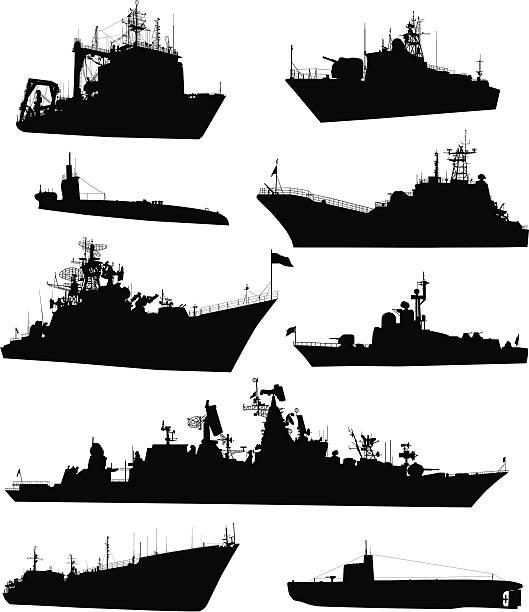 naval zestaw - statek stock illustrations