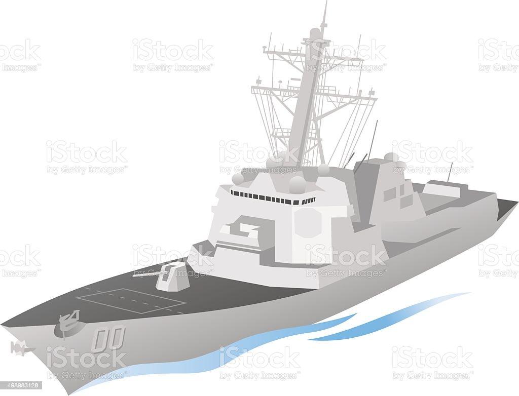 Naval Ship Vector vector art illustration