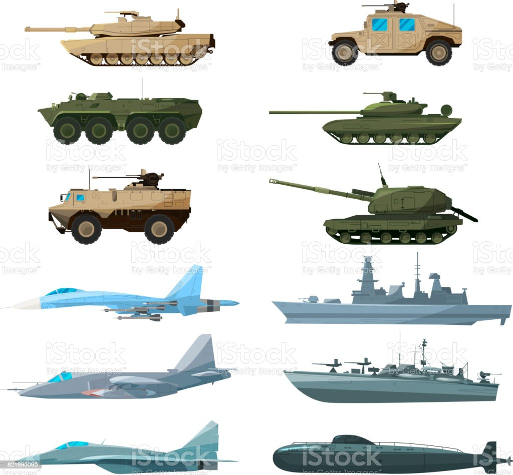 Naval vehicles, airplanes and different warships. Illustrations of artillery, battle tanks and submarine vector art illustration