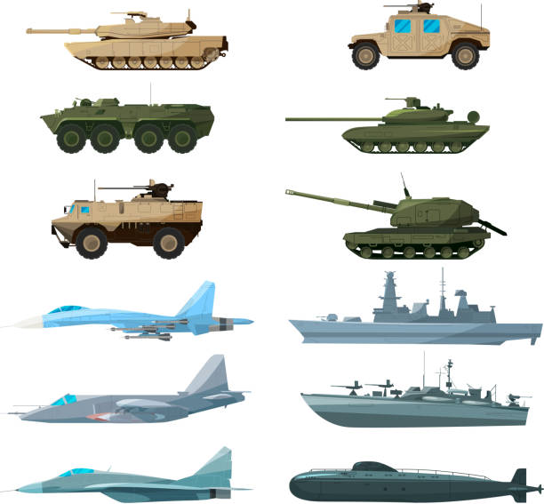 Naval vehicles, airplanes and different warships. Illustrations of artillery, battle tanks and submarine Naval vehicles, airplanes and different warships. Illustrations of artillery, battle tanks and submarine. Military battleship and car armed, plane and ship illustration military airplane stock illustrations