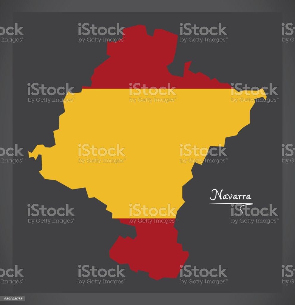 Navarra Map With Spanish National Flag Illustration Stock Vector Art