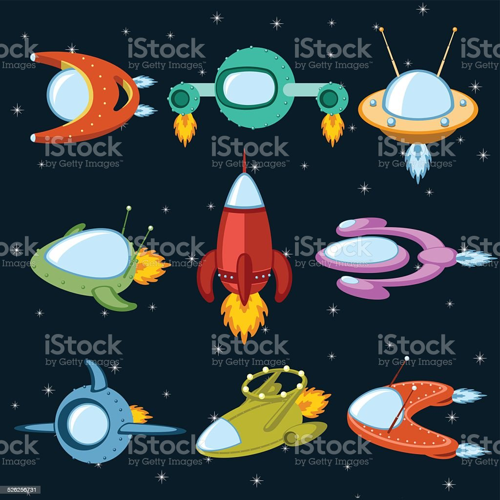Naves espaciales vector art illustration