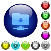 FTP navigate down color glass buttons