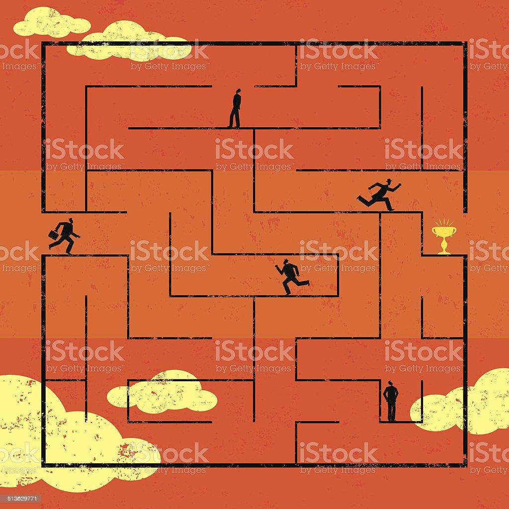 Navigating Maze to Success vector art illustration