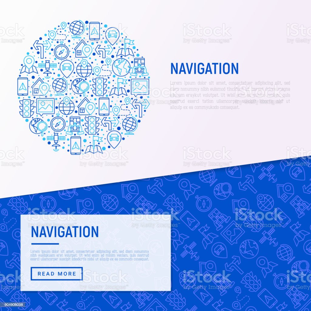 Navigation and direction concept in circle with thin line icons set: pointer, compass, navigator on tablet, traffic light, store locator, satellite. Modern vector illustration for banner, print media, web page. vector art illustration