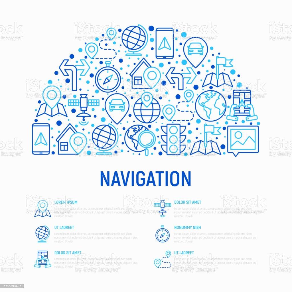 Ilustración de Concepto De Navegación Y Dirección En Medio Círculo ...