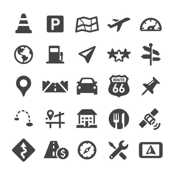 navigation and map icons - smart series - road trip stock illustrations