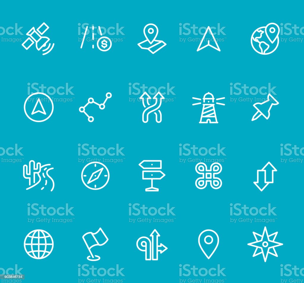 Navigation and Map - line icon set vector art illustration