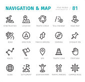 Navigation and Map - 20 Outline Style - Single line icons with captions / Set #81 Designed in 48x48pх square, outline stroke 2px.  First row of outline icons contains:  Construction, Location, Traffic Circle, Toll Highway, Road Map;  Second row contains:  Road, Direction, Traffic Arrows, Compass, Straight Pin;  Third row contains:  Route, Flag, GPS, Traffic Cone, Stop Sign;  Fourth row contains: Globe, Settlement, Location Mark, Traffic Arrows, Compass Rose.  Complete Signico collection - https://www.istockphoto.com/collaboration/boards/VT_7sDWo80OLh7foVxchBQ