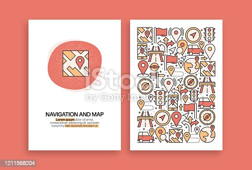 Navigation and Map Related Design. Modern Vector Templates for Brochure, Cover, Flyer and Annual Report.