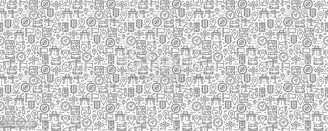 istock Navigation and Map Related Seamless Pattern and Background with Line Icons 1203225890
