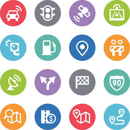 GPS Navigation and Road Icons - Circle Illustrations