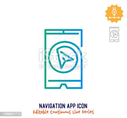 Navigation app vector icon illustration for logo, emblem or symbol use. Part of continuous one line minimalistic drawing series. Design elements with editable gradient stroke line.