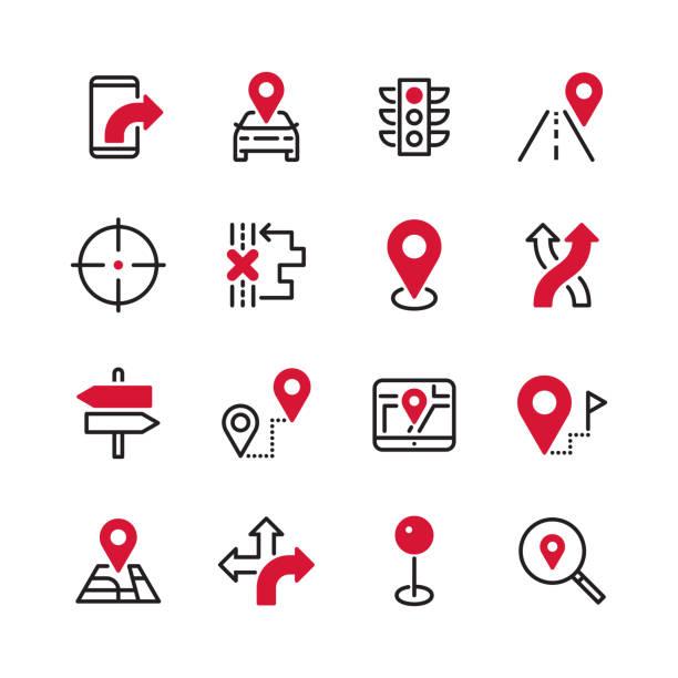navigation - schwarze linie plus farbe - karte navigationsinstrument stock-grafiken, -clipart, -cartoons und -symbole