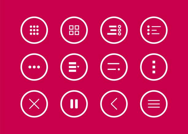 illustrazioni stock, clip art, cartoni animati e icone di tendenza di pulsante di navigazione. set di icone del menu hamburger. menu dei pulsanti per dispositivi mobili per le app e l'interfaccia utente web. illustrazione vettoriale - near