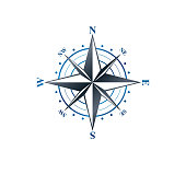 Navigation compass emblem, geography orientation theme. Heraldic vector element