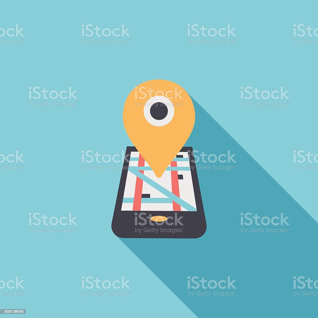 Navigation concept flat icon with long shadow vector art illustration