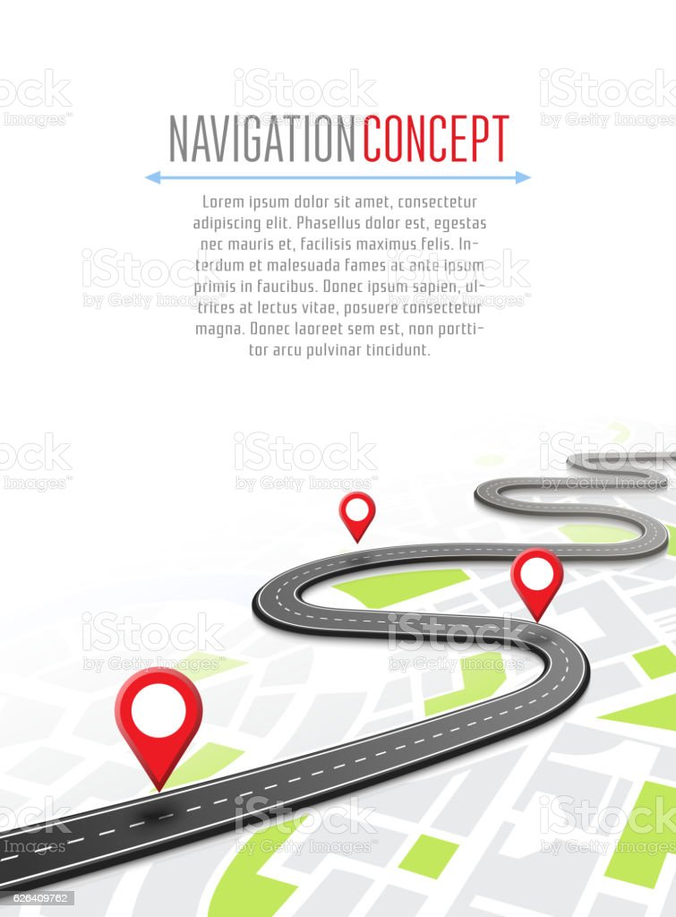 Navigation concept with pin pointer - Illustration vectorielle