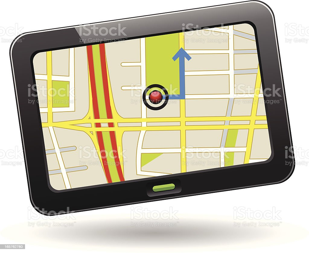 GPS navigation device displaying a map royalty-free gps navigation device displaying a map stock vector art & more images of city map