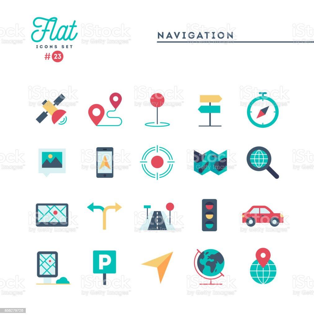 Navigation, Richtung, Karten, Verkehr und mehr, flache Symbole festlegen – Vektorgrafik