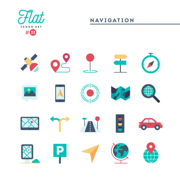 Navigation, direction, maps, traffic and more, flat icons set Navigation, direction, maps, traffic and more, flat icons set, vector illustration distant stock illustrations