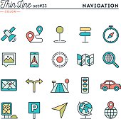 Navigation, direction, maps, traffic and more, thin line color icons