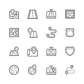 Navigation, direction, maps, traffic thin line icon set